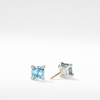Chatelaine® Stud Earrings with Blue Topaz and Diamonds