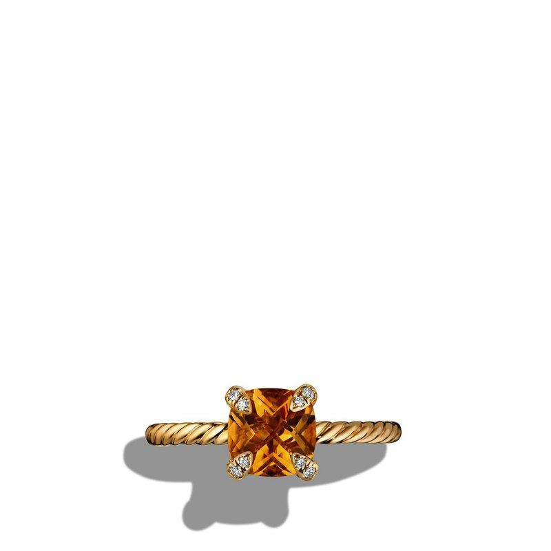 David Yurman Ring with Citrine and Diamonds in 18K Gold