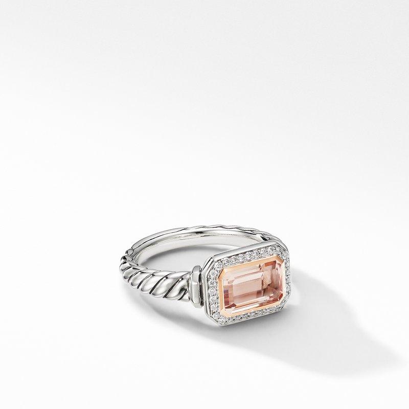 David Yurman Novella Ring with Morganite, Pavé Diamonds and 18K Rose Gold