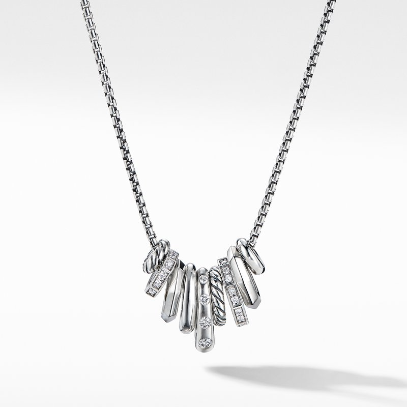 David Yurman Stax Rondelle Pendant Necklace with Diamonds