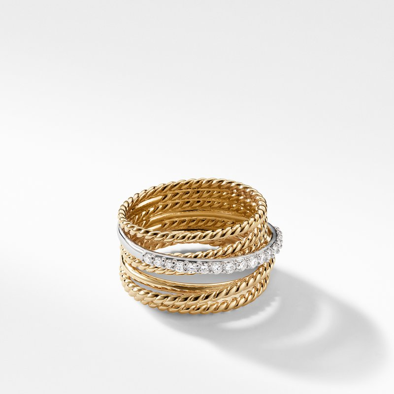 David Yurman The Crossover Collection® Wide Ring with Diamonds in 18K Gold
