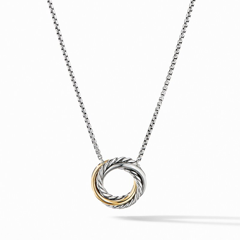 David Yurman Crossover Mini Pendant Necklace with 18K Yellow Gold