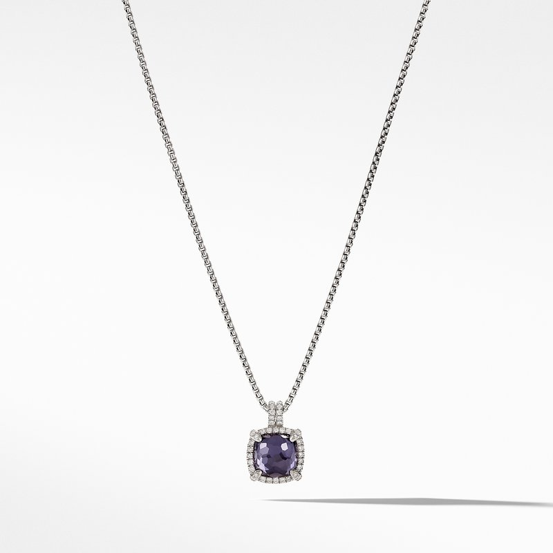 David Yurman Chatelaine® Pave Bezel Pendant Necklace with Black Orchard and Diamonds, 9mm