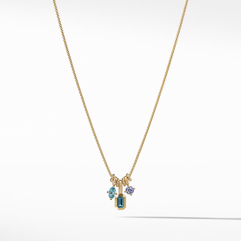 David Yurman Novella Pendant Necklace with Hampton Blue Topaz Aquamarine and Tanzanite