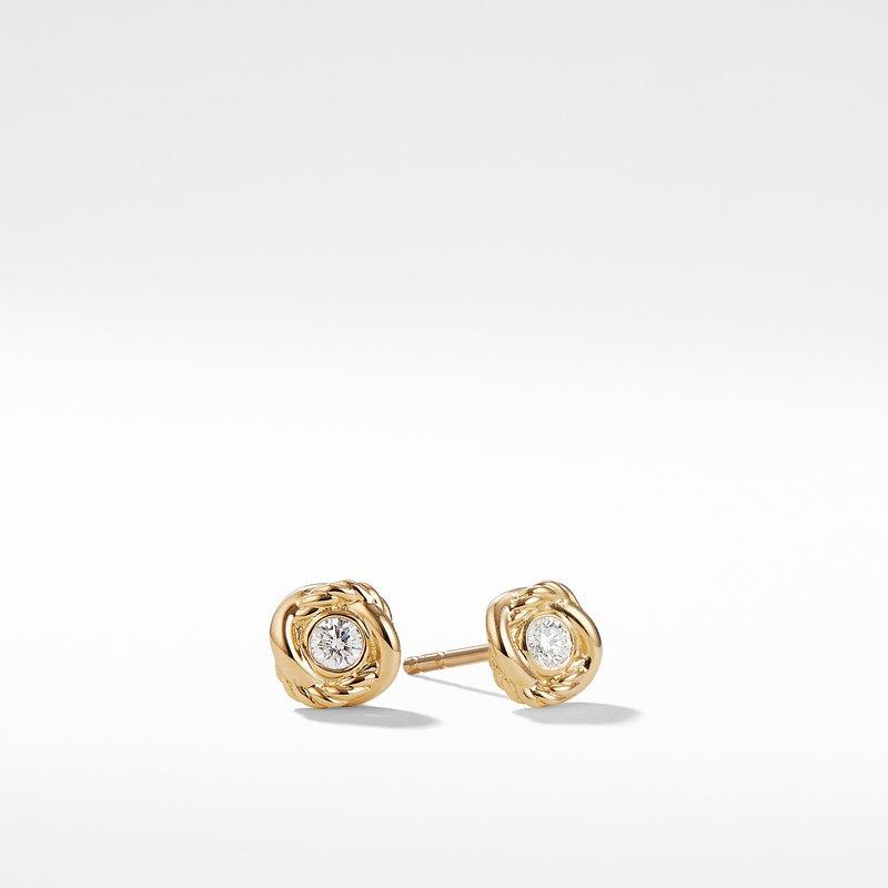 David Yurman Infinity Earrings with Diamonds in Gold