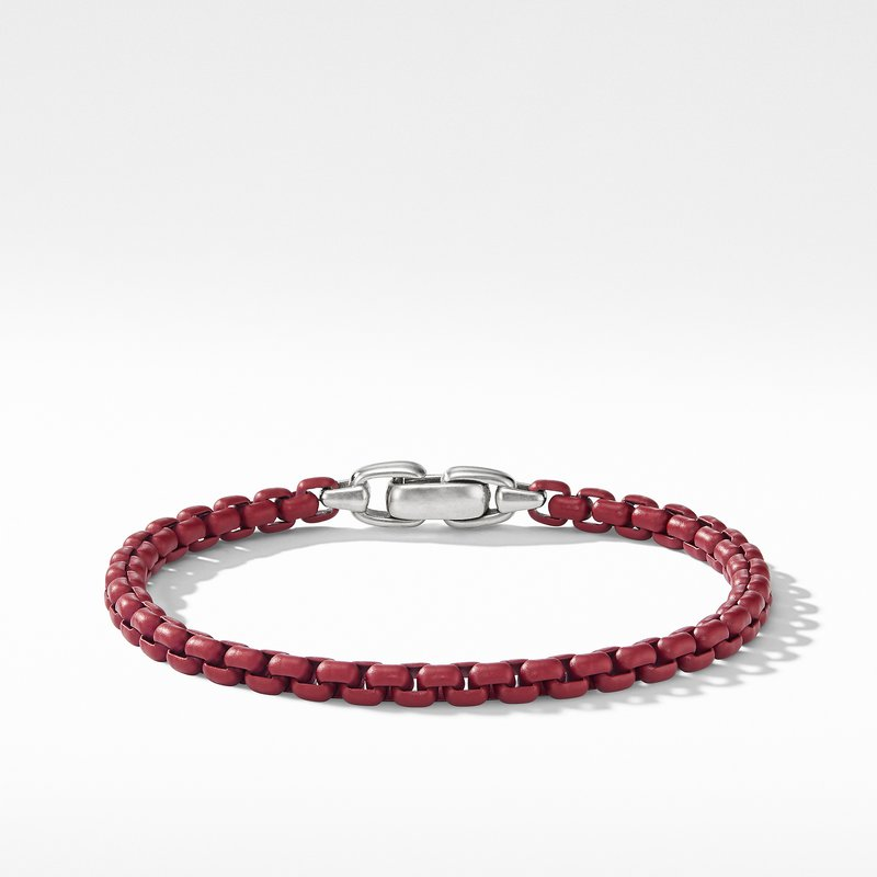 David Yurman Box Chain Bracelet in Burgundy