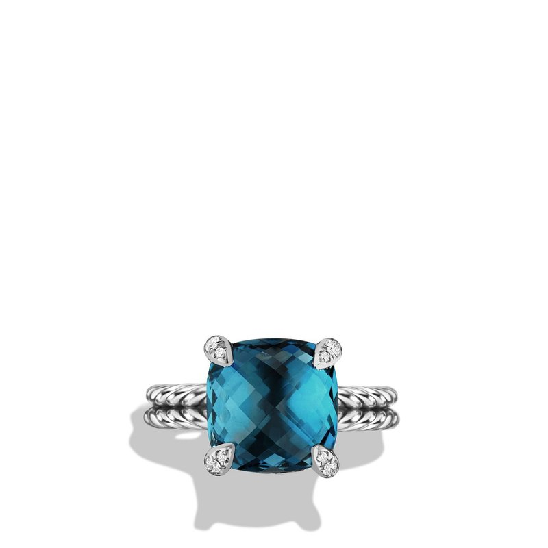 David Yurman Ring with Hampton Blue Topaz and Diamonds