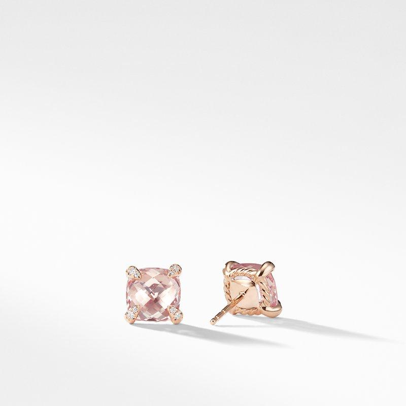 David Yurman Chatelaine® Stud Earrings with Morganite and Diamonds in 18k Rose Gold