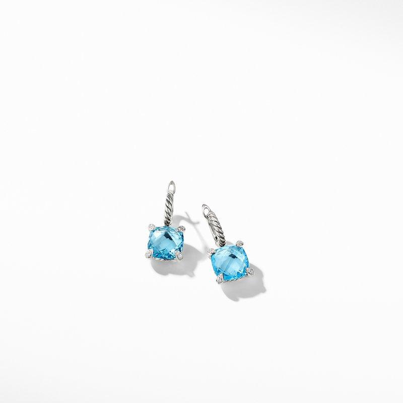 David Yurman Chatelaine® Drop Earrings with Blue Topaz and Diamonds