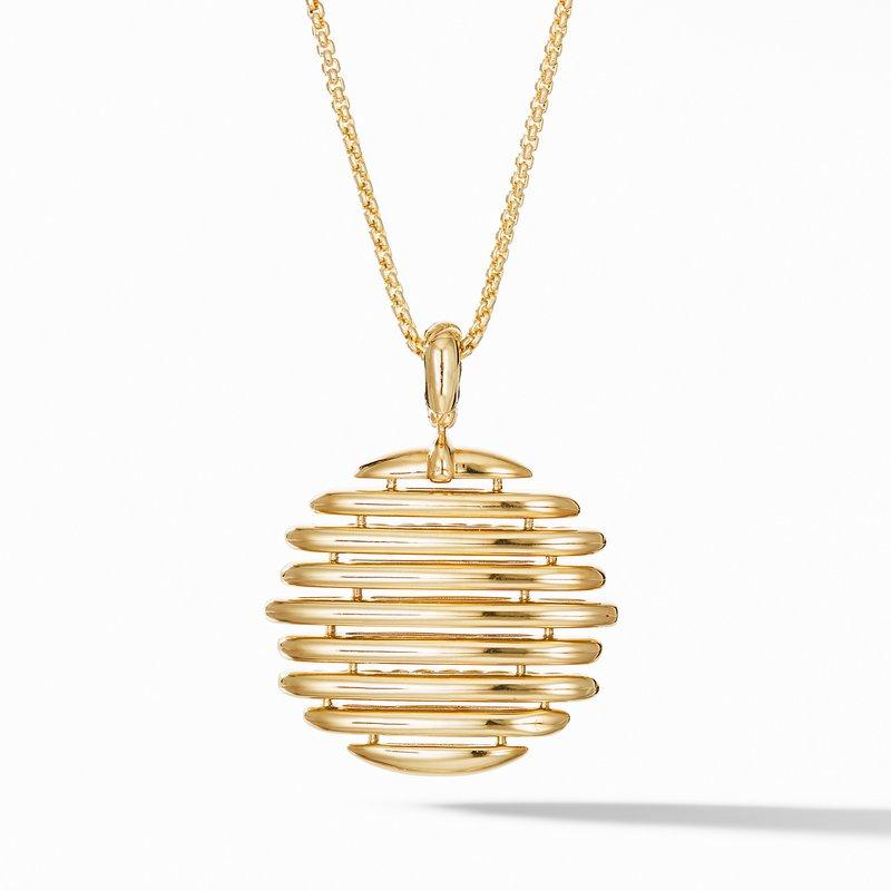 David Yurman Tides Pendant Necklace in 18K Yellow Gold with Pavé Diamonds