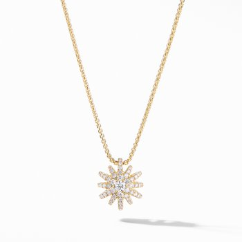 Starbust Pendant Necklace in 18K Yellow Gold with Pavé Diamonds