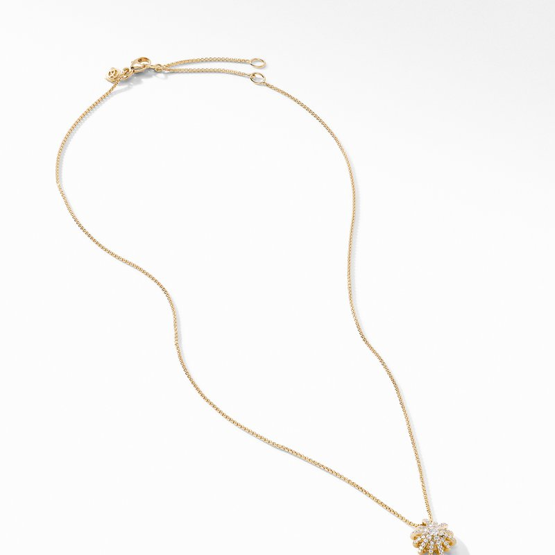 David Yurman Starbust Pendant Necklace in 18K Yellow Gold with Pavé Diamonds