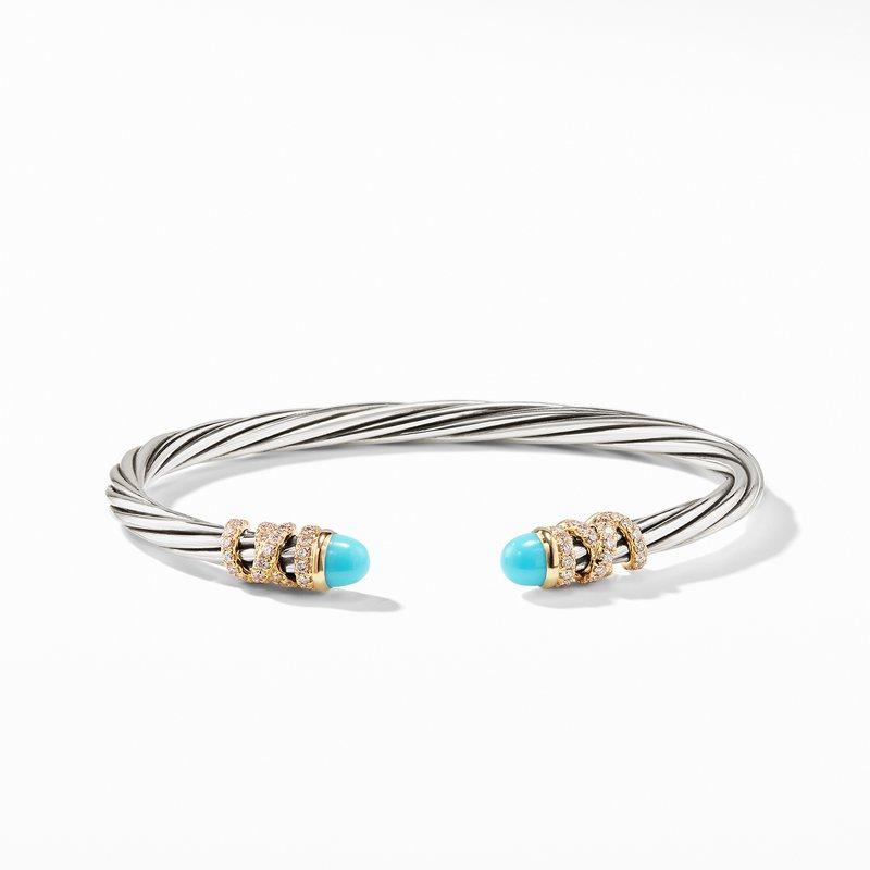 David Yurman Helena End Station Bracelet with Turquoise, Diamonds and 18K Gold, 4mm