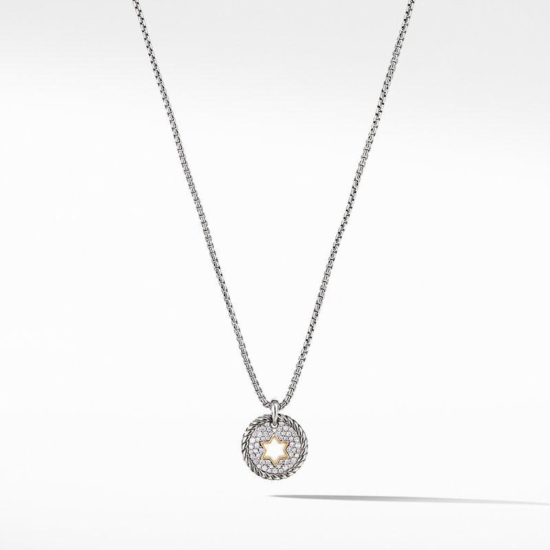 David Yurman Star of David Charm Necklace  with Diamonds with 18K Gold