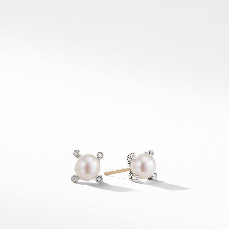 David Yurman Pearl Earrings with Diamonds