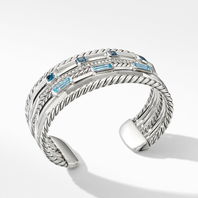 David Yurman Stax Wide Cuff Bracelet with Blue Topaz and Diamonds