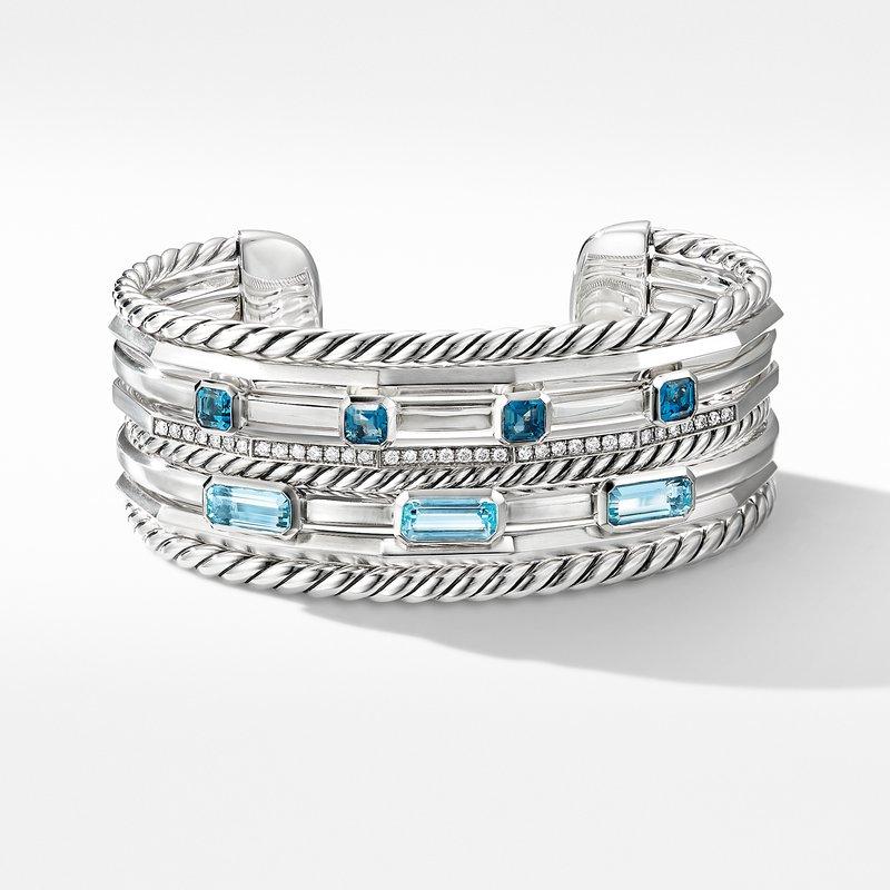 David Yurman Stax Wide Cuff Bracelet with Blue Topaz and Diamonds