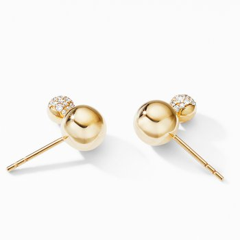 Solari Stud Earrings in 18K Yellow Gold with Diamonds
