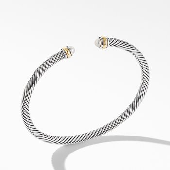 Cable Classic Bracelet with Pearl and 18K Yellow Gold