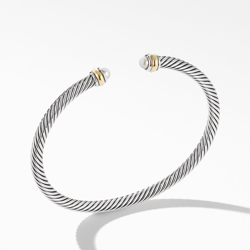 David Yurman Cable Classic Bracelet with Pearl and 18K Yellow Gold