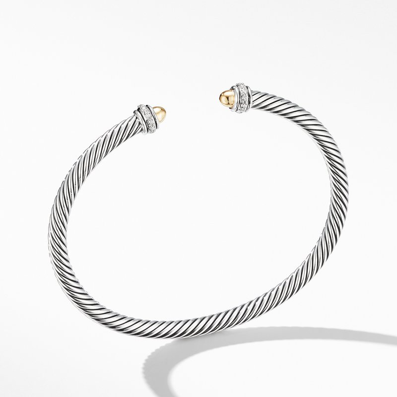 David Yurman Cable Classic Bracelet with 18K Yellow Gold Domes and Diamonds