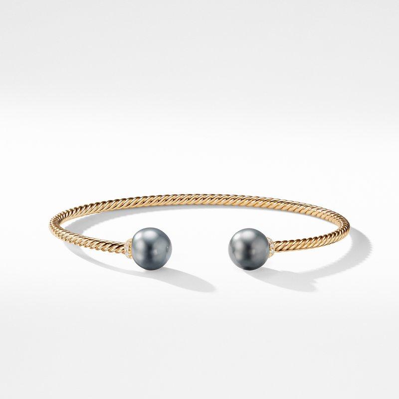 David Yurman Solari Bead Bracelet with Tahitian Grey Pearl in 18K Gold