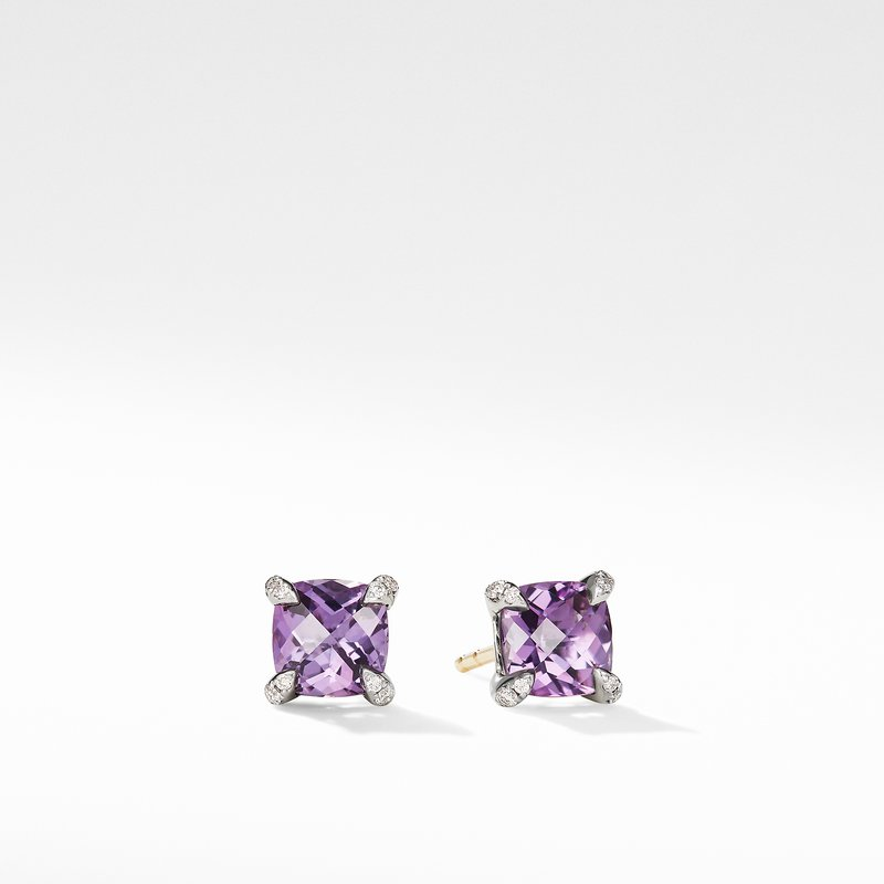 David Yurman Chatelaine® Stud Earrings with Amethyst and Diamonds
