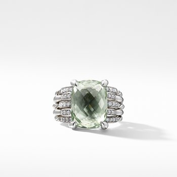 Tides Statement Ring with Prasiolite and Diamonds