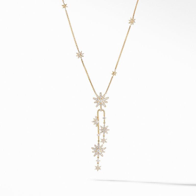 David Yurman Starburst Cluster Necklace in 18K Yellow Gold with Pavé Diamonds