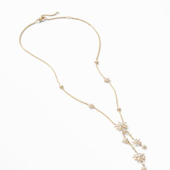 Starburst Cluster Necklace in 18K Yellow Gold with Pavé Diamonds