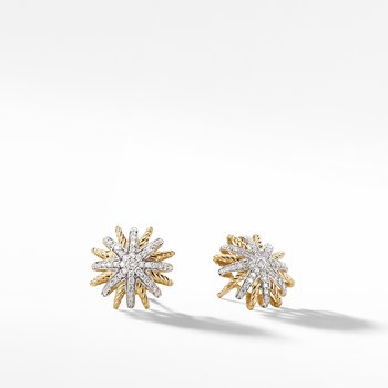Starburst Earrings with Diamonds in 18K Gold