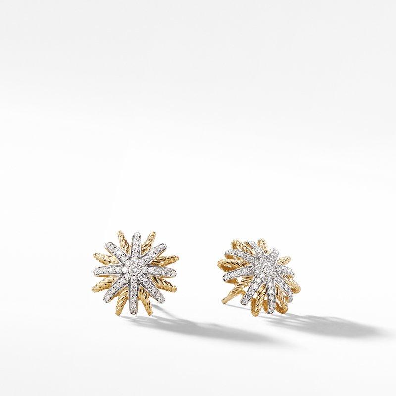 David Yurman Starburst Earrings with Diamonds in 18K Gold