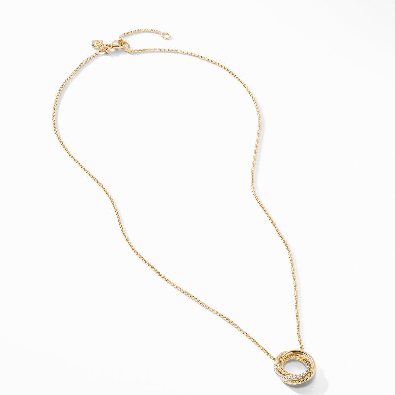 David Yurman The Crossover Collection® Mini Pendant Necklace in 18K Yellow Gold with Diamonds
