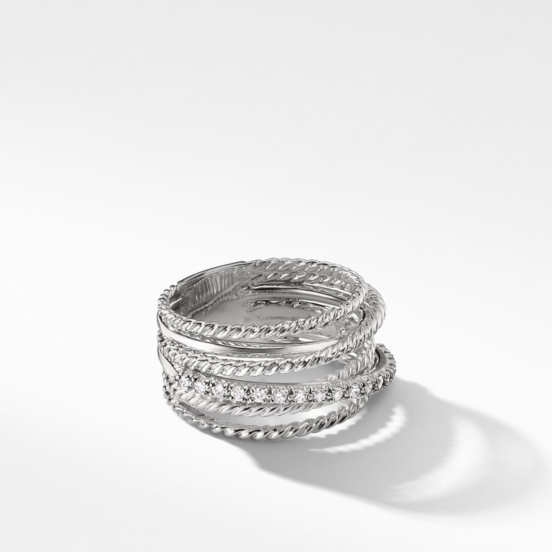 David Yurman The Crossover Collection® Wide Ring with Diamonds