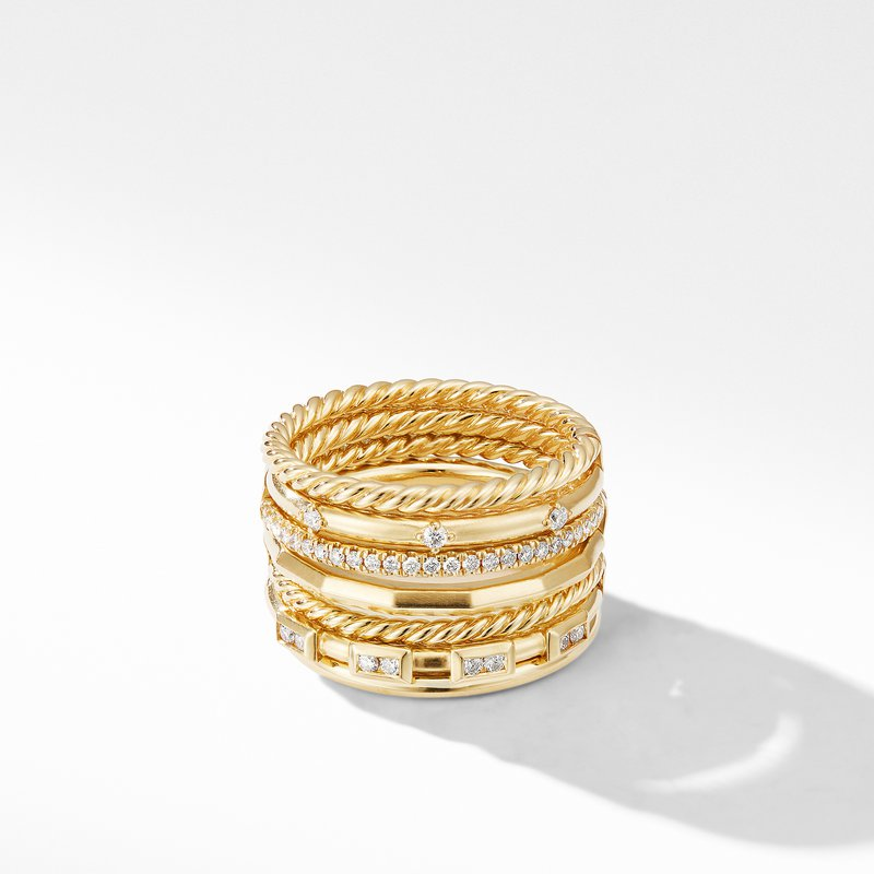 David Yurman Stax Cable and Pavé Ring in 18K Yellow Gold