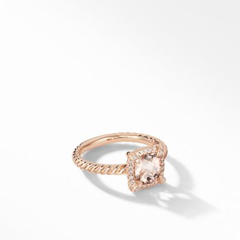 Petite Chatelaine® Pavé Bezel Ring in 18K Rose Gold with Morganite