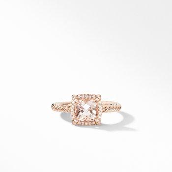 Petite Chatelaine® Pavé Bezel Ring in 18K Rose Gold with Morganite