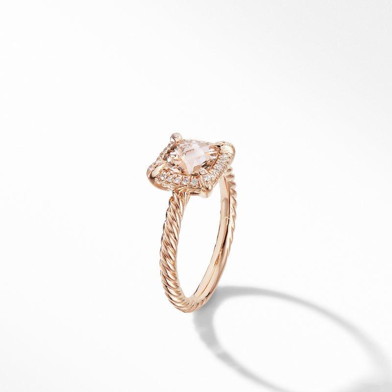 David Yurman Petite Chatelaine® Pavé Bezel Ring in 18K Rose Gold with Morganite
