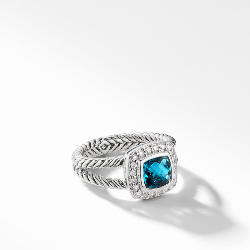 David Yurman Petite Albion® Ring with Hampton Blue Topaz and Diamonds