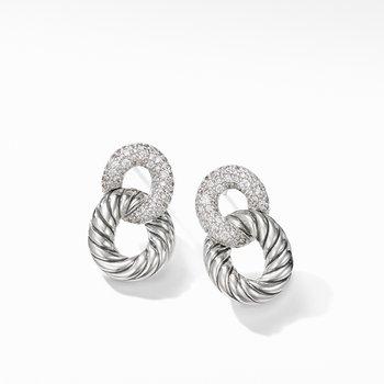 Belmont® Curb Link Drop Earrings with Diamonds