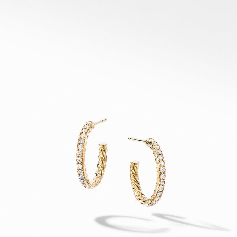 David Yurman Extra-Small Hoop Earrings in 18K Yellow Gold with Pavé Diamonds