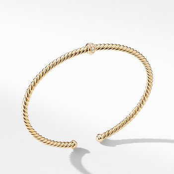 Renaissance Center Station Bracelet with Diamonds in 18K Gold, 3mm