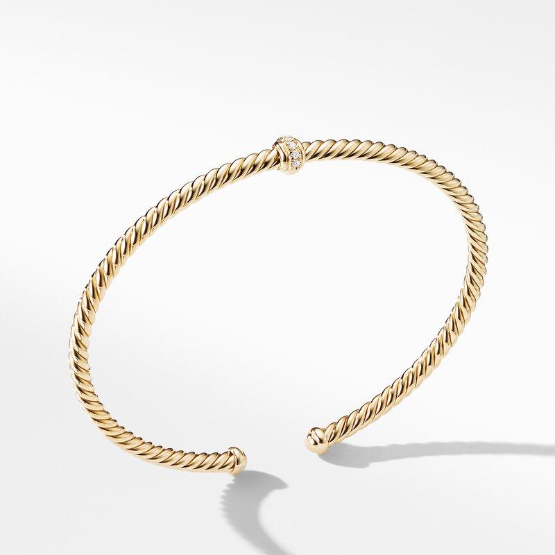 David Yurman Renaissance Center Station Bracelet with Diamonds in 18K Gold, 3mm