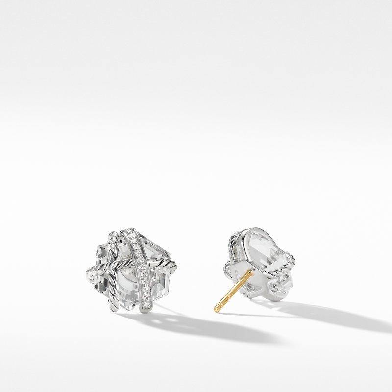 David Yurman Cable Wrap Earrings with Crystal and Diamonds