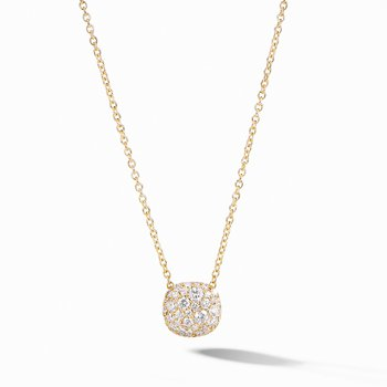 Cushion Stud Pendant Necklace in 18K Yellow Gold with Pavé Diamonds