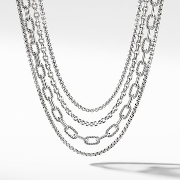 Four-Row Mixed Chain Bib Necklace