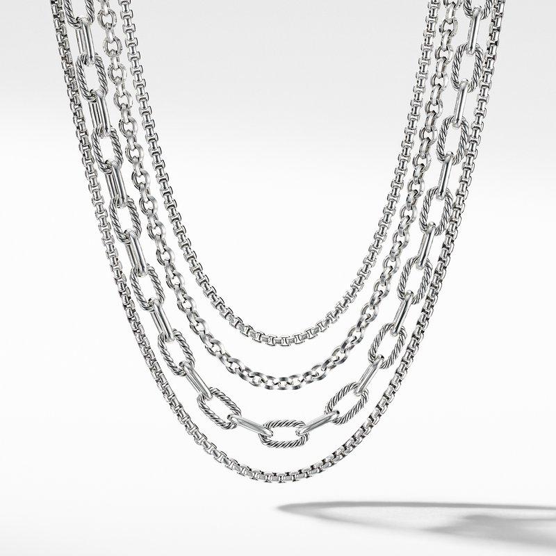 David Yurman Four-Row Mixed Chain Bib Necklace