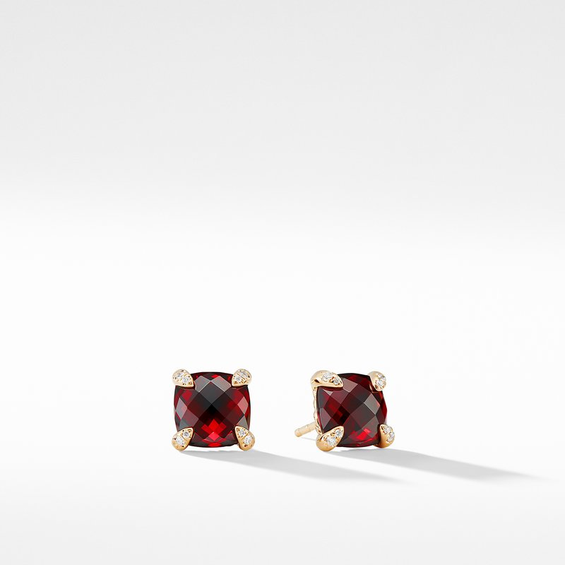 David Yurman Earrings with Garnet in 18K Gold