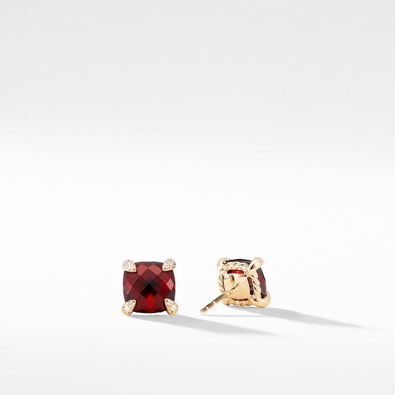 David Yurman Earrings with Garnet in 18K Gold