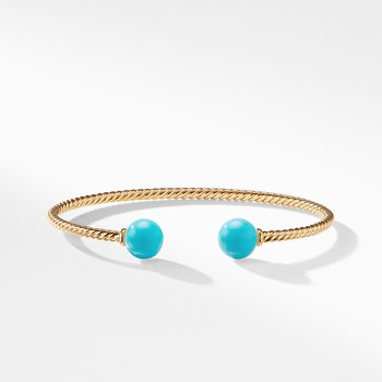 Solari Bead Bracelet with Turquoise in 18K Gold